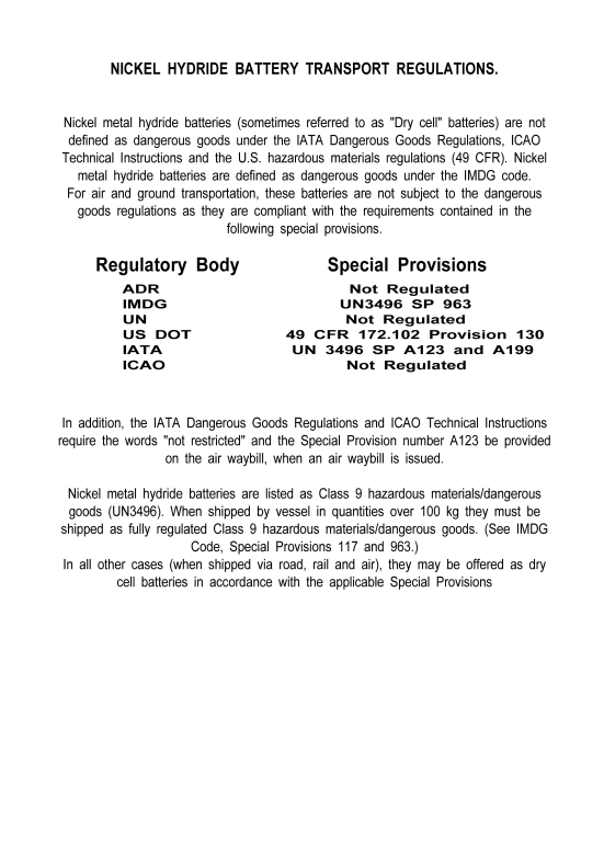 MSDS-NIMH - Nickel Hydride Materials Standards Data Sheet